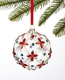 Holiday Lane Majesty Glass Clear Ball with Jewels Ornament, Created for Macy's