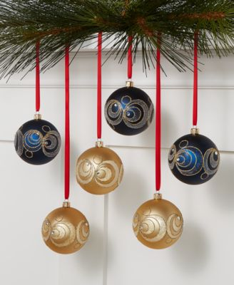 Midnight Blue Set of 6 Blue and Gold Shatterproof Ornaments, Created for Macy's