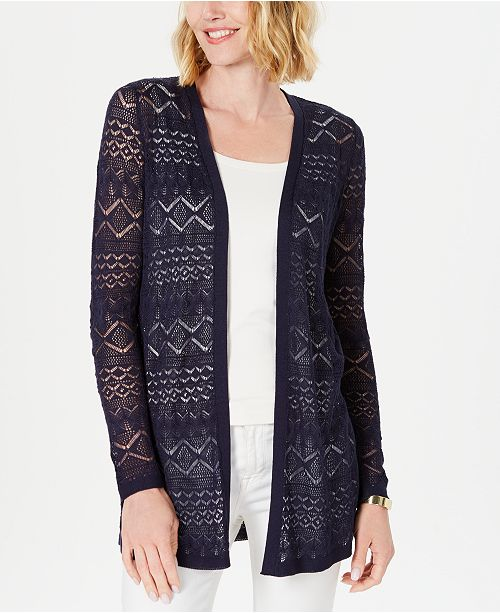 Charter Club Lace Open-Front Cardigan, Created For Macy's