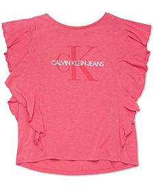 Calvin Klein Big Girls Logo-Print Flutter T-Shirt