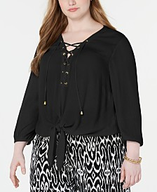 I.N.C. Plus Size Lace-Up Tie-Front Top, Created for Macy's