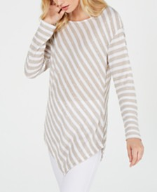 I.N.C. Long-Sleeve Striped Top, Created for Macy's