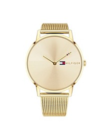 Womens Gold-Tone Stainless Steel Mesh Bracelet Watch 40mm