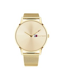 Tommy Hilfiger Womens Gold-Tone Stainless Steel Mesh Bracelet Watch 40mm , Created for Macys