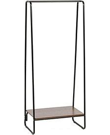 Metal Garment Rack With Wood Shelf