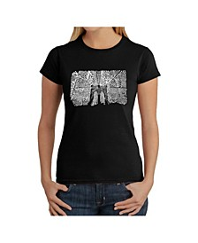 Women's Word Art T-Shirt - Brooklyn Bridge