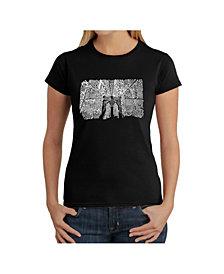 Women's Word Art T-Shirt - Brooklyn Bridge