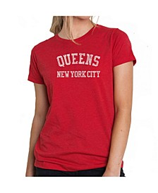 Women's Premium Word Art T-Shirt - Popular Queens Neighborhoods