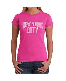 Women's Word Art T-Shirt - Nyc Neighborhoods