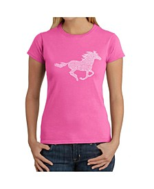 Women's Word Art T-Shirt - Horse Breeds