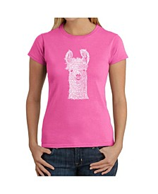 Women's Word Art T-Shirt - Llama