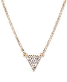 "DKNY Gold-Tone Pavé Triangle Pendant Necklace, 16"" + 3"" extender"