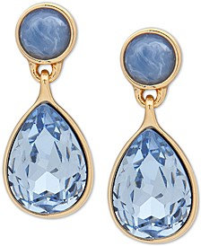 Gold-Tone Stone & Crystal Teardrop Drop Earrings