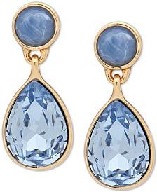 DKNY Gold-Tone Stone & Crystal Teardrop Drop Earrings