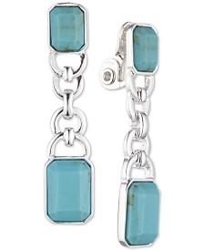 Lauren Ralph Lauren Silver-Tone Stone Clip-On Linear Drop Earrings