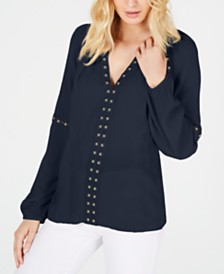 I.N.C. Grommet-Trim Peasant Top, Created for Macy's