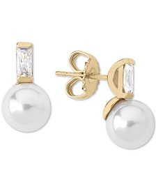 Majorica Gold-Plated Sterling Silver Imitation Pearl & Cubic Zirconia Baguette Stud Earrings
