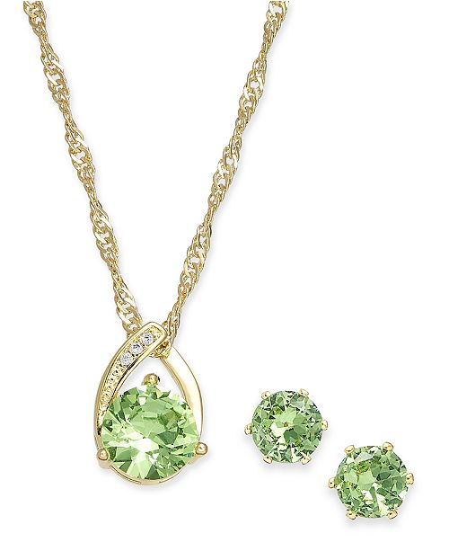 Charter Club Green Crystal Pendant Necklace and Earrings Set, Created for Macy's