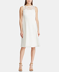 Lauren Ralph Lauren Lace-Overlay Crepe Dress
