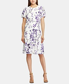 Petite Twisted-Knot Floral Jersey Dress