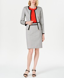 Calvin Klein Piped Jacket, Pleated Top & Pencil Skirt