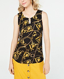 Juniors' Printed Hardware-Detail Top