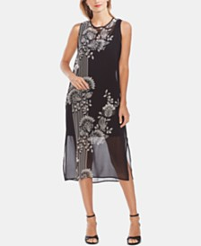 Vince Camuto Printed Side-Slit Dress
