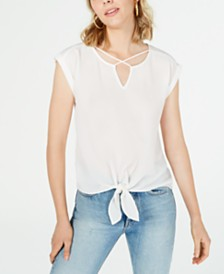 BCX Juniors' Crisscross Knotted Top