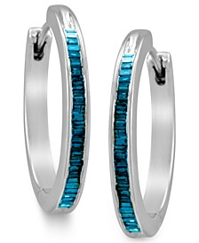 Sterling Silver Earrings, Blue Diamond Baguette Hoop Earrings (1/4 ct. t.w.)