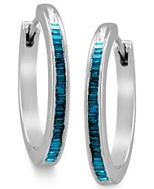 Sterling Silver Earrings, Blue Diamond Baguette Hoop Earrings (1/4 ct. t.w.)