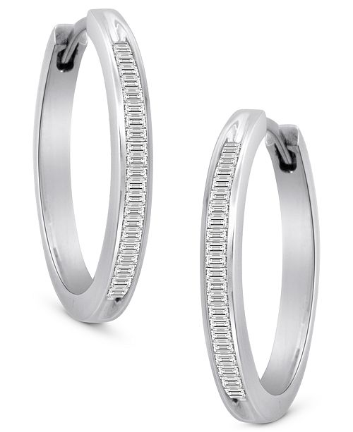 Macy's Diamond Hoop Earrings in Sterling Silver (1/2 ct. t.w.)