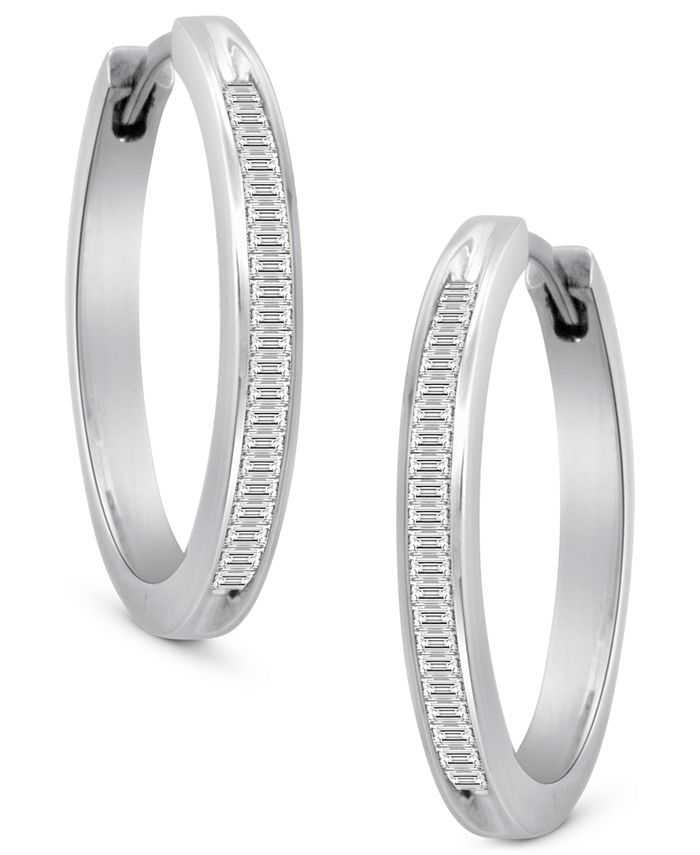 Macy's - Diamond Hoop Earrings in Sterling Silver (1/2 ct. t.w.)