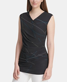 DKNY Sleeveless Printed Pleated Top