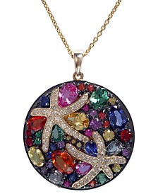 "Watercolors by EFFY Multicolor Sapphire (5-3/8 ct. t.w.) and Diamond (1/4 ct. t.w.) Starfish 18"" Pendant Necklace in 14k Gold, Created for Macy's"