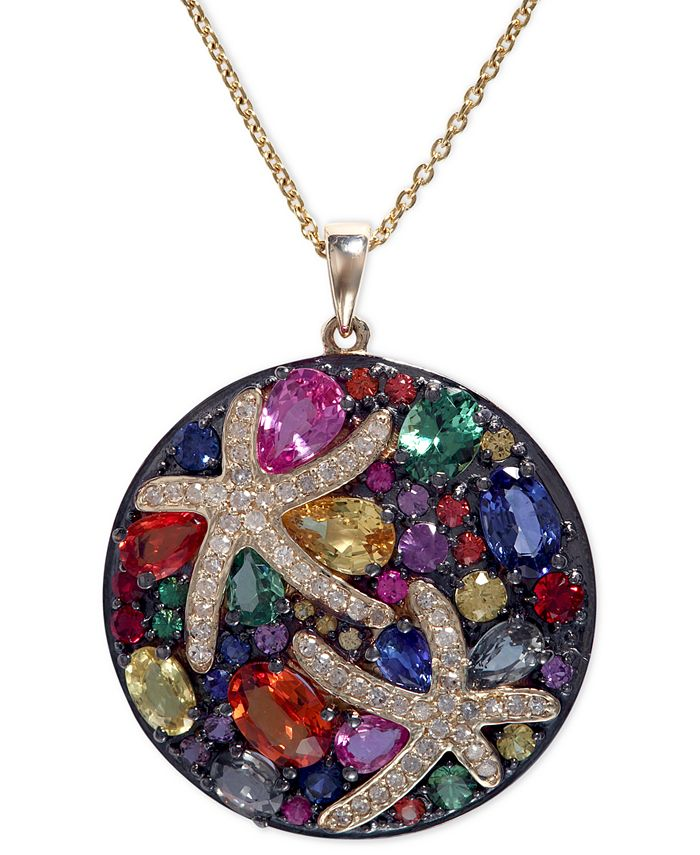 EFFY Collection - Multicolor Sapphire (5-3/8 ct. t.w.) and Diamond (1/4 ct. t.w.) Starfish Pendant Necklace in 14k Gold