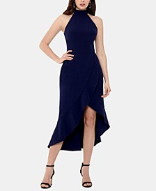 High-Neck Crepe Ruffle Dress