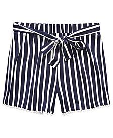 Big Girls Tie Waist and Pom Poms at Hem Stripe Short