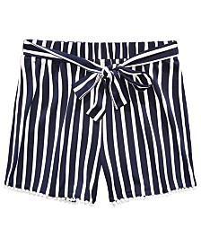 Monteau Big Girls Vertical Striped Shorts