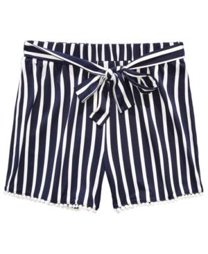 Monteau Big Girls Tie Waist and Pom Poms at Hem Stripe Short
