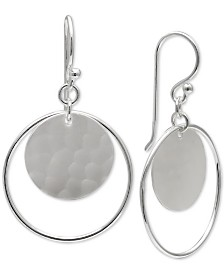 Giani Bernini Circle & Disc Drop Earrings in Sterling Silver, Created for Macy's