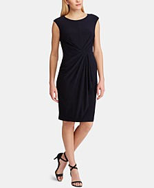 Petite Ruched-Waist Cap-Sleeve Dress