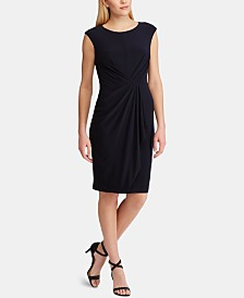 Lauren Ralph Lauren Petite Ruched-Waist Cap-Sleeve Dress