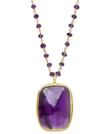 18k Gold over Sterling Silver Necklace, Amethyst Rectangle Pendant (17-1/10 ct.t.w.)