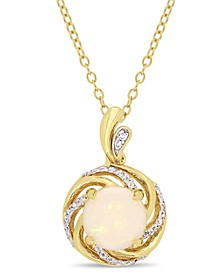"Opal (1-1/4 ct. t.w.), White Topaz (1/6 ct. t.w.) and Diamond-Accent Swirl Halo 18"" Necklace in 18k Gold over Sterling Silver"