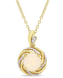 """Opal (1-1/4 ct. t.w.), White Topaz (1/6 ct. t.w.) and Diamond-Accent Swirl Halo 18"""" Necklace in 18k Gold over Sterling Silver"""