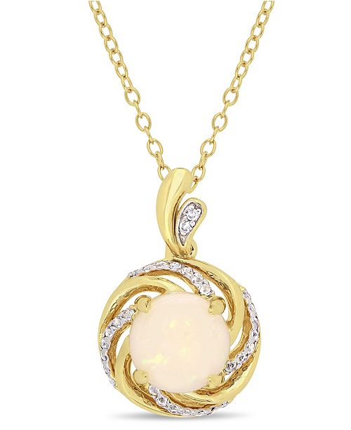 """Macy's Opal (1-1/4 ct. t.w.), White Topaz (1/6 ct. t.w.) and Diamond-Accent Swirl Halo 18"""" Necklace in 18k Gold over Sterling Silver"""