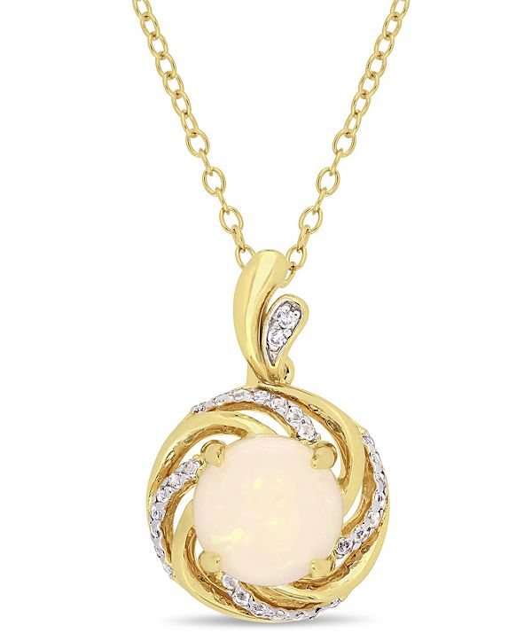"Macy's Opal (1-1/4 ct. t.w.), White Topaz (1/6 ct. t.w.) and Diamond-Accent Swirl Halo 18"" Necklace in 18k Gold over Sterling Silver"