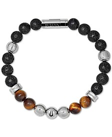 Men's Tiger's Eye (8mm) & Black Lava Bead Bracelet in Stainless Steel, J96B020M