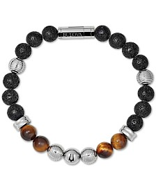 Bulova Men's Tiger's Eye (8mm) & Black Lava Bead Bracelet in Stainless Steel, J96B020M