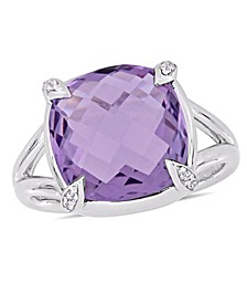Amethyst (7-3/4 ct.t.w.) and White Topaz (1/20 ct.t.w.) Split Shank Cocktail Ring in Sterling Silver